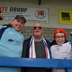 TELFORD COPYRIGHT MIKE SHERIDAN 23/3/2019 - Three generations of Bucks fans, Andy, Paul and Alfie(12) Booth from Shrewsbury at the FA Trophy Semi Final fixture between AFC Telford United and Leyton Orient at the New Bucks Head