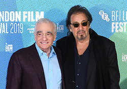 Martin Scorsese and Al Pacino at The Irishman photocall, part of the BFI London Film Festival 2019, May Fair Hotel. Photo credit should read: Doug Peters/EMPICS