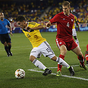 Jaun Fernando Quintero, Colombia, in action during the Columbia Vs Canada friendly international football match at Red Bull Arena, Harrison, New Jersey. USA. 14th October 2014. Photo Tim Clayton
