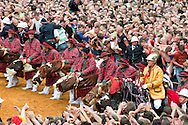 Doudou (Ducasse de Mons), Mons, Belgium (15 June 2014). On the main square (Grand Place), the ritual combat between a dragon and St George. © Rudolf Abraham