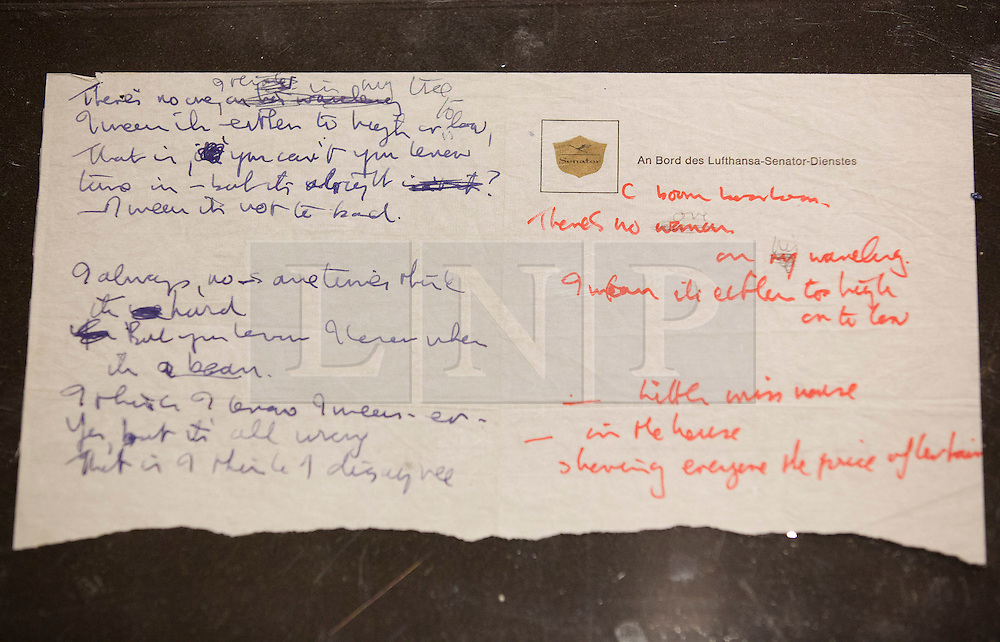 """© Licensed to London News Pictures. 22/05/2013. London, UK. The original lyrics to the Beatles song 'Strawberry Fields' written on Lufthansa notepaper are seen after being presented to the British Library by Beatles biographer Hunter Davies in London today (22/05/2013). The manuscript, along with others and correspondence between John Lennon and Mr Davies, have been donated to the library under the """"lifetime giving"""" scheme. Photo credit: Matt Cetti-Roberts/LNPPhoto credit: Matt Cetti-Roberts/LNP"""
