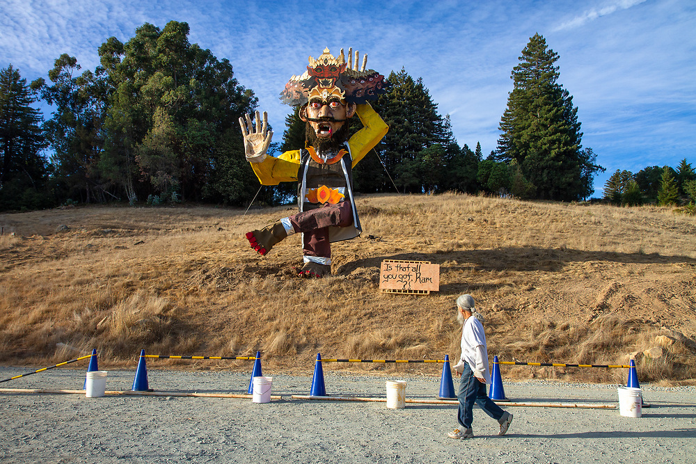 Watsonville, California   2016 <br /> Mount Madonna Center, a yoga center and spiritual retreat founded by Hari Dass, a silent monk who came to the US from India in the early 1970s, celebrates the Hindu festival of Navratri with the ritual destruction of a 12-meter Ravana, the villain of the Ramayana.