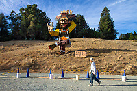 Watsonville, California | 2016 <br /> Mount Madonna Center, a yoga center and spiritual retreat founded by Hari Dass, a silent monk who came to the US from India in the early 1970s, celebrates the Hindu festival of Navratri with the ritual destruction of a 12-meter Ravana, the villain of the Ramayana.