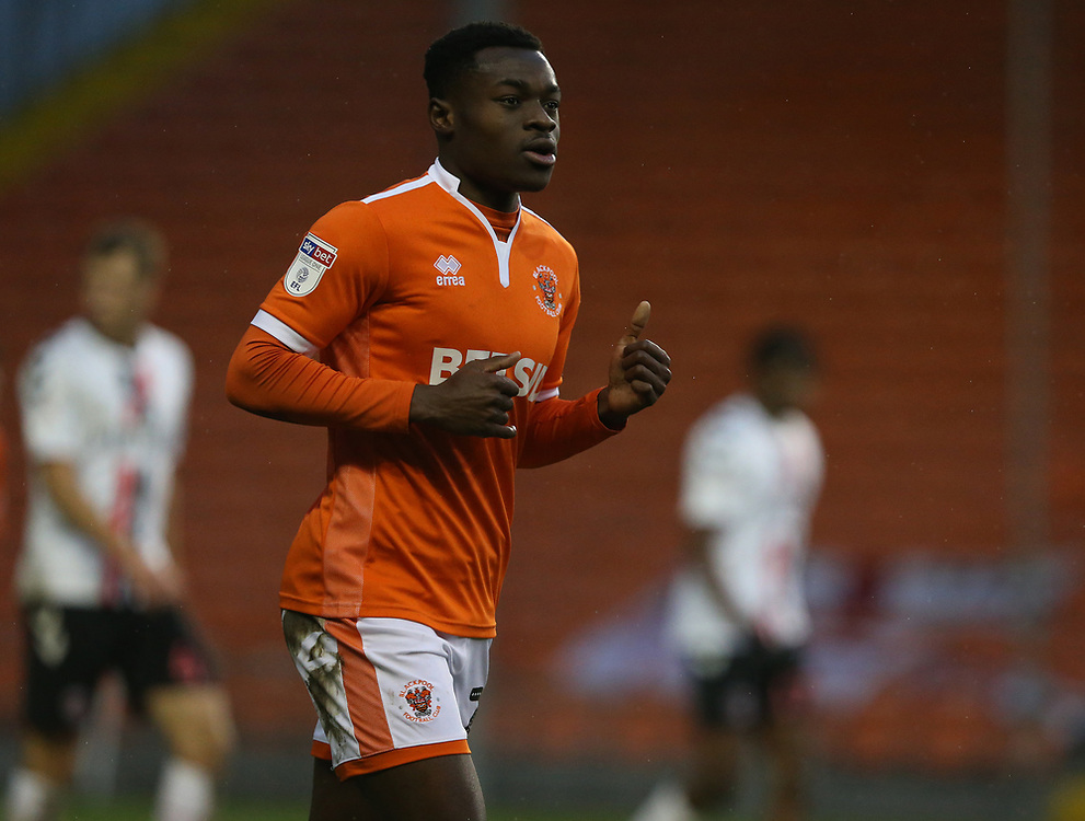 Blackpool's Marc Bola<br /> <br /> Photographer Stephen White/CameraSport<br /> <br /> The EFL Sky Bet League One - Blackpool v Charlton Athletic - Saturday 8th December 2018 - Bloomfield Road - Blackpool<br /> <br /> World Copyright © 2018 CameraSport. All rights reserved. 43 Linden Ave. Countesthorpe. Leicester. England. LE8 5PG - Tel: +44 (0) 116 277 4147 - admin@camerasport.com - www.camerasport.com