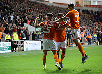 Blackpool's Jordan Thompson celebrates scoring his side's second goal <br /> <br /> Photographer Alex Dodd/CameraSport<br /> <br /> The EFL Sky Bet League One - Blackpool v Lincoln City - Friday 27th September 2019 - Bloomfield Road - Blackpool<br /> <br /> World Copyright © 2019 CameraSport. All rights reserved. 43 Linden Ave. Countesthorpe. Leicester. England. LE8 5PG - Tel: +44 (0) 116 277 4147 - admin@camerasport.com - www.camerasport.com