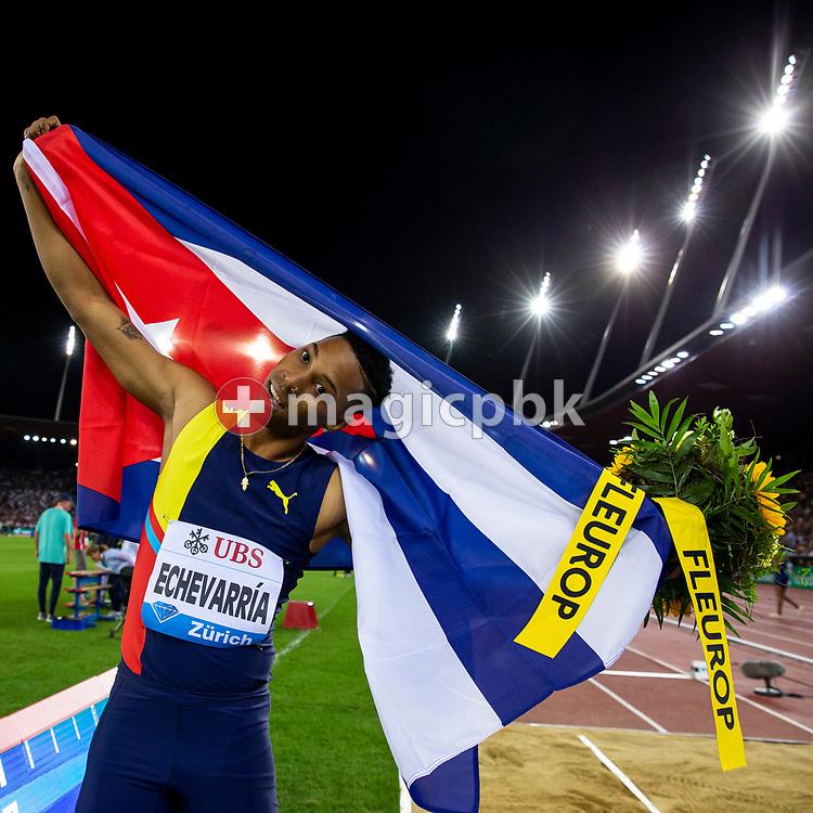 Juan Miguel ECHEVARRIA of Cuba jubilates after winning in the Men's Long Jump during the Iaaf Diamond League meeting (Weltklasse Zuerich) at the Letzigrund Stadium in Zurich, Switzerland, Thursday, Aug. 29, 2019. (Photo by Patrick B. Kraemer / MAGICPBK)