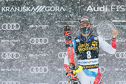 Meillard Loic (SUI) with trophy for overall winner of Pokal Vitranc at during the Audi FIS Alpine Ski World Cup Men's  Slalom at 60th Vitranc Cup 2021 on March 14, 2021 in Podkoren, Kranjska Gora, Slovenia Photo by Grega Valancic / Sportida