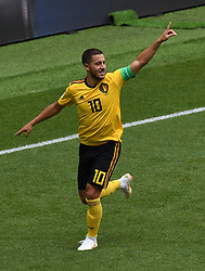 MOSCOW, June 23, 2018  Eden Hazard of Belgium celebrates his scoring during the 2018 FIFA World Cup Group G match between Belgium and Tunisia in Moscow, Russia, June 23, 2018. (Credit Image: © Wang Yuguo/Xinhua via ZUMA Wire)