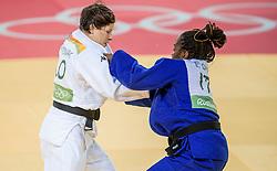 09-08-2016 BRA: Olympic Games day 4, Rio de Janeiro<br /> In de klasse tot -63 kilogram wint Tina Trstenjak SLO van Edwige Gwend ITA