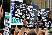 Protest after Boris Johnson suspends Parliament on August 28th 2019 in Westminster, London, United Kingdom.