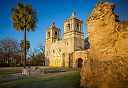 "Mission Nuestra Señora de la Purísima Concepción de Acuña (also Mission Concepcion) was established in 1716 as Nuestra Señora de la Purísima Concepción de los Hainais in East Texas. It was originally meant to be a base for converting the Hasinai. The mission was moved in 1731 to San Antonio. After its relocation most of the people in the mission were Pajalats who spoke a Coahuiltecan language. Founded by Franciscan friars, this is the best preserved of the Texas missions. <br /> The Battle of Concepción was fought here on October 28, 1835 between Mexican troops under Colonel Domingo Ugartechea and Texian insurgents led by James Bowie and James Fannin. The 30-minute engagement, is described as ""the first major engagement of the Texas Revolution"" by historian J.R. Edmondson. <br /> Located at 807 Mission Road, Concepcion was designated a National Historic Landmark on April 15, 1970 and is part of San Antonio Missions National Historical Park. Restoration of the mission's interior was completed in March 2010 after six months of work. Catholic Mass is still held every Sunday."