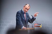 30 NOV 2018, BERLIN/GERMANY:<br /> Friedrich Merz, CDU, Rechtanwalt und ehem. stellv. CDU/CSU Fraktionsvorsitzender, haelt eine Rede, waehrend der Regionalkonferenz der CDU zur Vorstellung der Kandidaten fuer das Amt des Bundesvorsitzenden der CDU, Estrell Convention Center<br /> IMAGE: 20181130-01-016