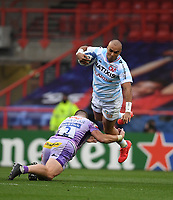 Rugby Union - 2019 / 2020 Heineken Cup - Final - Exeter Chiefs vs Racing 92 - Ashton Gate, Bristol<br /> <br /> Racing 92's Simon Zebo is tackled by Exeter Chiefs' Luke Cowan-Dickie.<br /> <br /> COLORSPORT/ASHLEY WESTERN