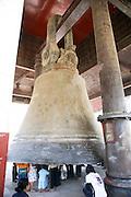 Myanmar, Mingun People under the giant bell