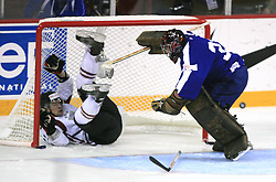 Kaspars Daugavins (11) in a goal of Goalkeeper Robert Kristan of Slovenia at ice-hockey match Slovenia vs Latvia at Preliminary Round (group B) of IIHF WC 2008 in Halifax, on May 06, 2008 in Metro Center, Halifax, Nova Scotia, Canada. Latvia won 3:0. (Photo by Vid Ponikvar / Sportal Images)Slovenia played in old replika jerseys from the year 1966, when Yugoslavia hosted the World Championship in Ljubljana.