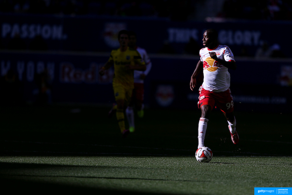 Bradley Wright-Phillips, New York Red Bulls, in action during the New York Red Bulls Vs Columbus Crew, Major League Soccer regular season match at Red Bull Arena, Harrison, New Jersey. USA. 19th October 2014. Photo Tim Clayton