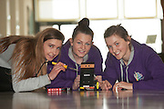 01/05/2015 Orlaith Lyons, Katie Burke  and  Orla Waters from Colaiste Mhuire, Ennis Co Clare,  with their robots at the Irish Robotics Championship where over 450 second level students competed for the coveted trophy supported by  EA Games. Photo:Andrew Downes: XPOSURE