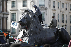 © Licensed to London News Pictures. 09/10/2019. London, UK. Extinction Rebellion protesters stand on a lion sculpture in Trafalgar Square during a third day of demonstrations in central London. The aims of the group are to blockade the Westminster area for two weeks highlighting the urgency for the government demand governments take immediate and decisive action on the climate change. Photo credit: Peter Macdiarmid/LNP