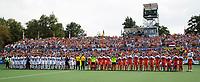 AMSTELVEEN -   Volksliederen   voor de finale Belgie-Nederland (2-4) bij de Rabo EuroHockey Championships 2017.   COPYRIGHT KOEN SUYK