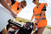 Iris Slappendel tijdens de tweede racedag. Het Human Power Team Delft en Amsterdam, dat bestaat uit studenten van de TU Delft en de VU Amsterdam, is in Amerika om tijdens de World Human Powered Speed Challenge in Nevada een poging te doen het wereldrecord snelfietsen voor vrouwen te verbreken met de VeloX 7, een gestroomlijnde ligfiets. Het record is met 121,44 km/h sinds 2009 in handen van de Francaise Barbara Buatois. De Canadees Todd Reichert is de snelste man met 144,17 km/h sinds 2016.<br /> <br /> With the VeloX 7, a special recumbent bike, the Human Power Team Delft and Amsterdam, consisting of students of the TU Delft and the VU Amsterdam, wants to set a new woman's world record cycling in September at the World Human Powered Speed Challenge in Nevada. The current speed record is 121,44 km/h, set in 2009 by Barbara Buatois. The fastest man is Todd Reichert with 144,17 km/h.