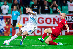 Andraž Šporar of Slovenia and Michał Pazdan of Poland during the 2020 UEFA European Championships group G qualifying match between Slovenia and Poland at SRC Stozice on September 6, 2019 in Ljubljana, Slovenia. Photo by Grega Valancic / Sportida