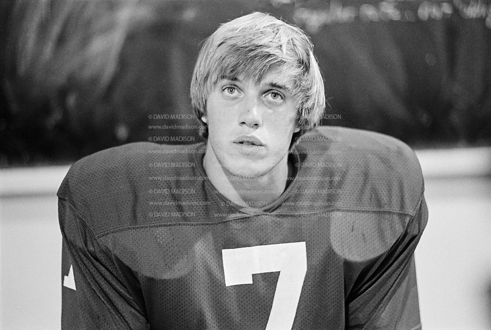 Stanford quarterback John Elway #7 talks to the media following the Stanford vs San Jose State game played on October 4, 1980 at Stanford Stadium in Palo Alto, California.  Photograph by David Madison   www.davidmadison.com