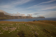 Neist Point in Glendale on the 4th September 2016 on the Isle of Skye in Scotland in the United Kingdom. Neist Point is the most Westerly point on the Isle of Skye with views over Moonen Bay to Waterstein Head.