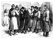 Unrest in Russia: Political prisoners on a railway station about to board a train to take them into exile in Siberia.   Various attempts were made on the life of  Alexander II, including one on 2 March 1880, culminating in his assassination on 13 March 1881.