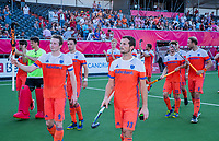 ANTWERPEN - Oranje , met Sander Baart (Ned) en Seve Ass (Ned) voorop , na  de troostfinale mannen om de derde plaats, Duitsland-Nederland (0-4) ,  bij het Europees kampioenschap hockey.   COPYRIGHT KOEN SUYK