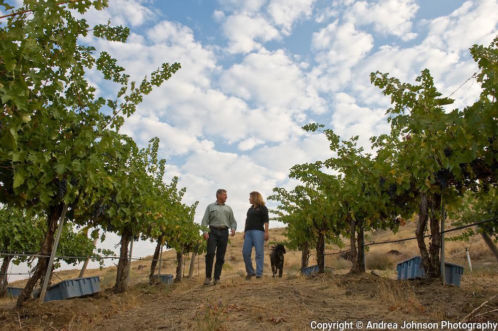 Larry & Jane Pearson at their Tapteil Vineyard & Winery, Red Mountain AVA, Yakima Wine valley, eastern Washington, USA