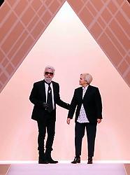 February 19, 2019.Karl Lagerfeld stylist, photographer, illustrator, artist, designer, pop and fashion superstar icon dies aged 85.Karl Lagerfeld and Silvia Venturini  .File dated 2018-02-22 (Credit Image: © Maule/Fotogramma/Ropi via ZUMA Press)