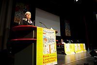 08 JAN 2011, BERLIN/GERMANY:<br /> Gesine Loetzsch, Die Linke Parteivorsitzende, haelt eine Rede, 16. Internationale Rosa-Luxenburg-Konferenz, Urania Haus<br /> IMAGE: 20110108-01-021<br /> KEYWORDS: Kommunismus, Gesine Lötzsch