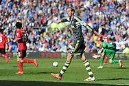 Stoke city's Peter Crouch makes a point. Barclays Premier league match, Cardiff city  v Stoke city at the Cardiff city stadium in Cardiff, South Wales on Saturday 19th April 2014. pic by Andrew Orchard, Andrew Orchard sports photography,