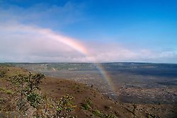 Rainbow over Halema`uma`u or Halemaumau Crater and Mauna Loa, Kilauea Caldera, Hawaii Volcanoes National Park, Big Island, Hawaii
