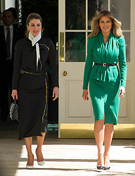 First lady Melania Trump, right, and Queen Rania of Jordan, left, walk on the White House Colonnade ahead of United States President Donald J. Trump and King Abdullah II of Jordan conducting a joint press conference in the Rose Garden of the White House in Washington, DC on Wednesday, April 5, 2017.<br /> Credit: Ron Sachs / CNP *** Please Use Credit from Credit Field ***