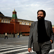 French novelist-philosopher Marek Halter walking past Lenin's Tomb on the Red Square in Moscow. .He was born in Poland in 1936. During World War II, he and his parents escaped from the Warsaw Ghetto and fled to the Soviet Union, spending the remainder of the war in Russia and later in Kokand, Uzbekistan. In 1946 he was chosen to travel to Moscow to present flowers to Stalin...In 1948 the family returned to Poland and later, in 1950, they emigrated to France and took up residence in Paris. Halter studied pantomime under Marcel Marceau and for a time earned a living as a painter; his work was featured in several international exhibitions...Halter began writing in the 1970s. His works include The Madman and the Kings (awarded the Prix Aujourdíhui in 1976), The Messiah, The Mysteries of Jerusalem, The Book of Abraham (1986) and its sequel, The Children of Abraham (1990), The Wind of the Khazars (2003), Sarah (2004), Zipporah (2005), and Lilah (2006). In addition to his novels he is the author of The Jester And the Kings: a Political Biography (1989) and Stories of Deliverance: Speaking with Men And Women Who Rescued Jews from the Holocaust (1998)...In 1991 Halter and Andrei Sakharov organized French College in Moscow. As of now (2007) he remains the president of the college.