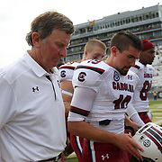 South Carolina head coach Steve Spurrier walks off the field after an NCAA football game between the South Carolina Gamecocks and the Central Florida Knights at Bright House Networks Stadium on Saturday, September 28, 2013 in Orlando, Florida. South Carolina won the game 28-25. (AP Photo/Alex Menendez)