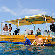 Visitors to Lady Elliot Island go snorkeling form a glass bottom boat.
