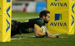Northampton Saints' Cobus Reinach scores their second try during the Aviva Premiership match at Franklin's Gardens, Northampton.