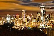 USA, Washington, Seattle. Night view of the Seattle skyline.