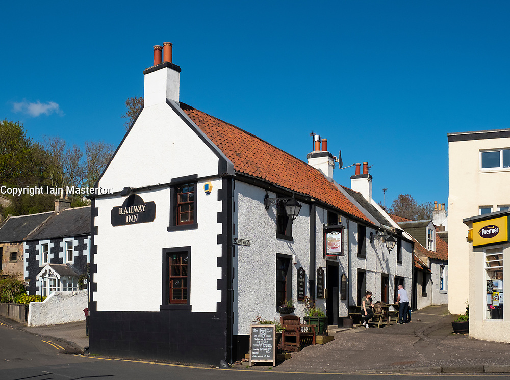 The Railway Inn pub in Lower Largo village in Fife, Scotland, UK