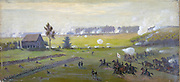 American Civil War 1861-1865: Battle of Gettysburg 1-3 July 1863 which ended Lee's invasion of the North.  Heaviest  US casualties than in any other in the war. Oil, 1865/1895 . Edwin Forbes (1839-1895) American artist.  Military Artillery