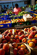 A women shops at a organic local produce farmers market in Marion Square in Charleston, South Carolina