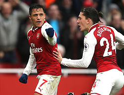 18 November 2017 London : Premier League Football : Arsenal v Tottenham Hotspur - Alexis Sanchez celebrates the second goal for Arsenal with Hector Bellerin.(photo by Mark Leech)
