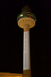 LIVERPOOL, ENGLAND - Tuesday, April 26, 2016: Radio City illuminate the number 96 on their logo at St. John's Beacon and list the names of the victims, here John Aldred Anderson, in tribute those who lost their lives in the Hillsborough Disaster on the 15 April 1989. This is to mark the verdicts in the two year inquest that returned a verdict of Unlawful Killing. (Pic by David Rawcliffe/Propaganda)