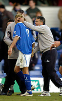 Photo: Richard Lane.Digitalsport<br /> Birmingham City v Leicester City. FA Barclaycard Premiership. 13/03/2004.<br /> Micky Adams consoles Robbie Savage