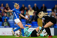 Birmingham City goalkeeper Emily Ramsey (21) saves ball during the FA Women's Super League match between Birmingham City Women and Brighton and Hove Albion Women at St Andrews, Birmingham United Kingdom on 12 September 2021.