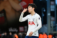 Heung-Min Son (7) of Tottenham Hotspur blows kisses to the Tottenham fans in celebration at full time after a 4-1 win over Bournemouth during the Premier League match between Bournemouth and Tottenham Hotspur at the Vitality Stadium, Bournemouth, England on 11 March 2018. Picture by Graham Hunt.