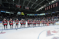 KELOWNA, CANADA - NOVEMBER 9: Team WHL lines up at the end of the game against the Team Russia on November 9, 2015 during game 1 of the Canada Russia Super Series at Prospera Place in Kelowna, British Columbia, Canada.  (Photo by Marissa Baecker/Western Hockey League)  *** Local Caption ***