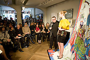 SELINA BLOW IN FRONT ROW; ALBER ELBAZ GIVING PRESENTATION. , The Launch of the Lanvin store on Mount St. Presentation and cocktails.  London. 26 March 2009